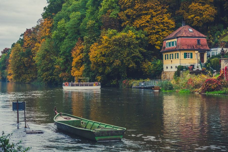 Tree Water Nautical Vessel Built Structure Building Exterior Nature Day Outdoors UNESCO World Heritage Site Autumn Yellow Travel Destinations Franken Germany Bavaria Bamberg  Deutschland Connection Sky Architecture