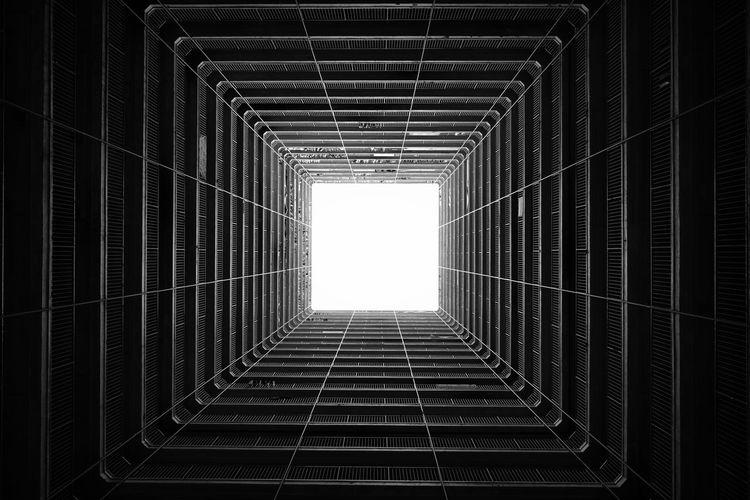 Directly below shot of skylight against sky
