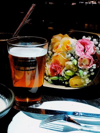 Beer Food And Drink Freshness Table Food Drink Ready-to-eat Indoors  Still Life Refreshment Glass Drinking Glass Serving Size Fork Flower