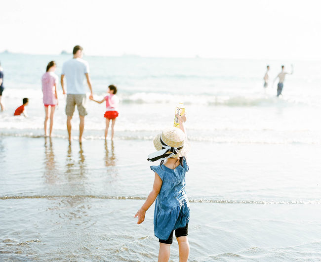 Beach Child Childhood Females Film Photography Girls Group Of People Happiness Horizon Over Water Outdoors Parent PENTAX67 Playing Sand Sea Summer Vacations Water Women EyeEmNewHere
