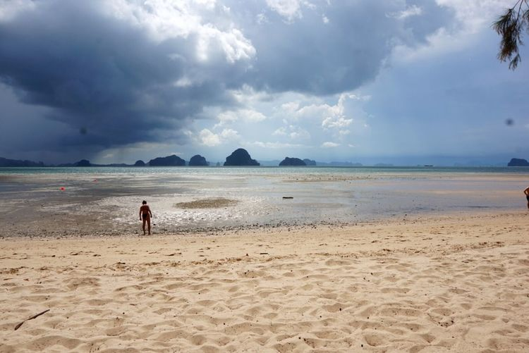 Beach Sand Sea Sky Cloud - Sky Summer Water One Person Landscape Tranquil Scene Nature Travel Destinations Scenics Krabi Thailand Wave Cloudy The Great Outdoors - 2017 EyeEm Awards Neighborhood Map Live For The Story