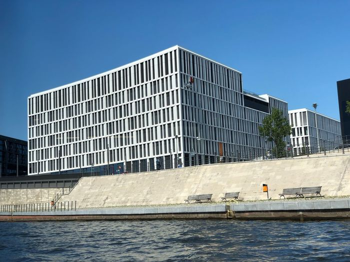 Blue Sky IPhone X IPhone X Photography Berlin Spree River Berlin Built Structure Building Exterior Architecture Sky Water Nature Clear Sky City Building Day Waterfront Incidental People Blue Travel Destinations Sunlight Modern Outdoors Office Building Exterior