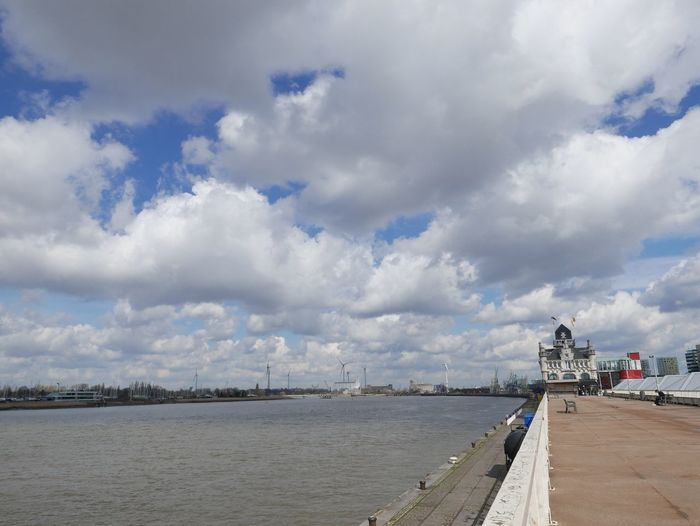 Scheldt View Landscape Clouds And Sky River Schelde Cloud - Sky Sky Water Sea Nature Land Beach Architecture Day Beauty In Nature Built Structure Incidental People Scenics - Nature Pier Tranquility Outdoors