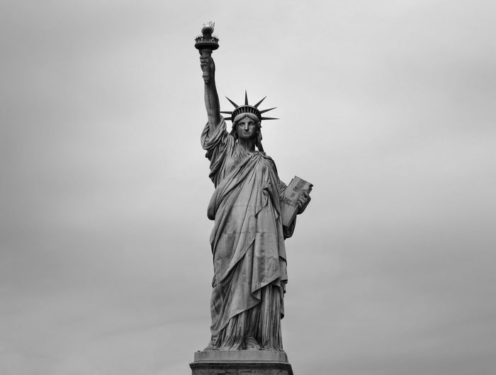 Blackandwhite Liberty New York New York City USA United States City Sculpture Statue Monument Symbol Crown History Cultures Freedom Human Representation Flaming Torch National Monument