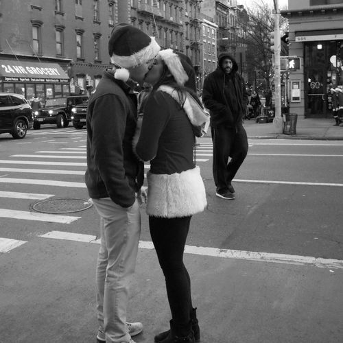Jackson Street City Young Adult City Street Togetherness Full Length City Life Young Women Walking Lifestyles Bonding Men Real People Women Outdoors Two People Adults Only Friendship Building Exterior Day Streetphotography Santacon New York City EyeEm Best Shots - Black + White EyeEm Best Shots