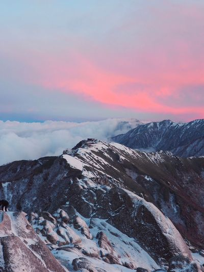Beauty In Nature Japan Snow Winter Cold Temperature Mountain Scenics - Nature Sky Beauty In Nature Sunset Cloud - Sky Mountain Range Environment Tranquil Scene Nature Snowcapped Mountain Tranquility No People Landscape Non-urban Scene Tree Pine Tree