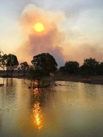 Sunset through the smoke of a bushfire on the banks of Hardie Billabong in the Northern Territory of Australia. Sunset Water Tree Reflection Cloud - Sky Beauty In Nature Nature Scenics Outdoors No People Sun Australia Billabong Northern Territory Hardie Billabong Global Warming Bushfire The Great Outdoors - 2017 EyeEm Awards