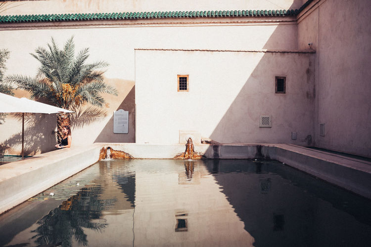 Jardin Secret Architecture Building Building Exterior Built Structure Day House Marrakech Morocco Morroco Nature No People Outdoors Palm Tree Plant Pool Reflection Residential District Sky Swimming Pool Tree Water Window
