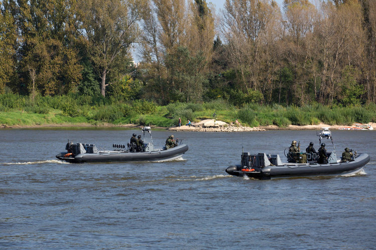 Trees Vistula Adult Adults Only Adventure Antiterrorist Boats Day Large Group Of People Military Nature Nautical Vessel Outdoors People Police Anti-terrorist Exercises Police Force Pressphoto River Transportation Tree Water