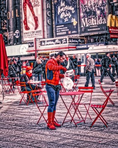 Standing Outdoors Streetphotography HDR Streetphotography Streetpgotographer Hdr_captures Hdr_pics Hdr_lovers Nycphotography NYC Street Photography NYC Street Nycstreetphotography Spiderman Superheroes Urbanphotography