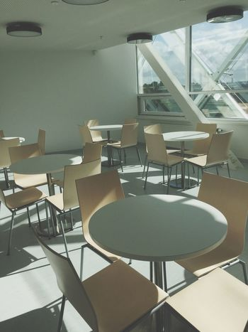 Chair Empty Seat Table No People White Color White Lithuania Kaunas Ktu University Dining Table Window Shadow