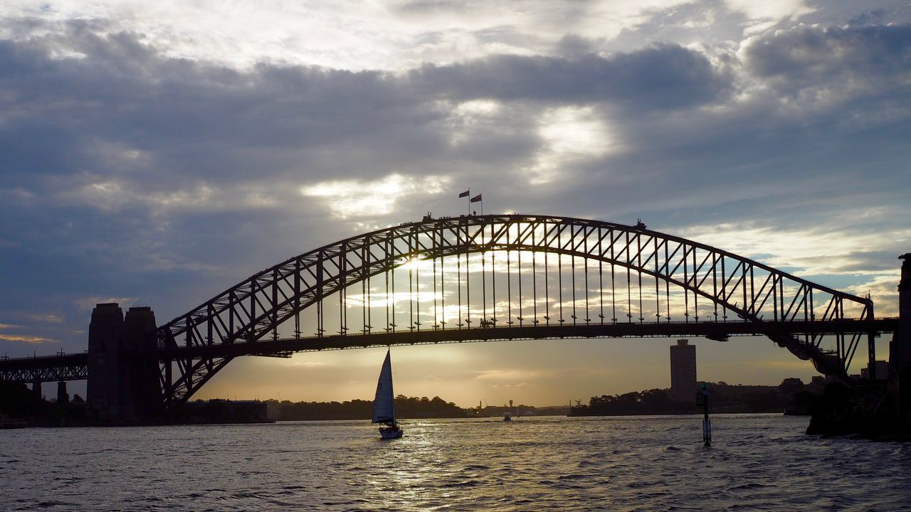 bridge - man made structure, sky, architecture, connection, built structure, cloud - sky, travel destinations, sunset, outdoors, water, no people, city, nature, day