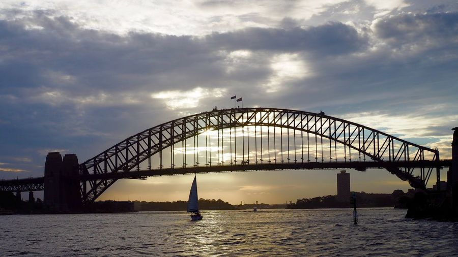 Harbour Bridge, Sydney Architecture Australia Bridge - Man Made Structure City Cityscape Day Harbor Harbour Bridge Icon No People Outdoors Sea Silhouette Sky Sport Sunset Sydney Travel Destinations Urban Skyline Water