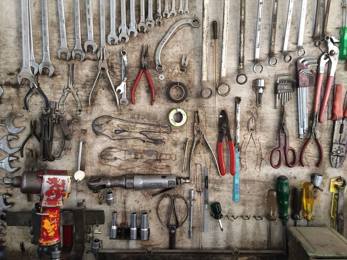 Close-up of tools in workshop