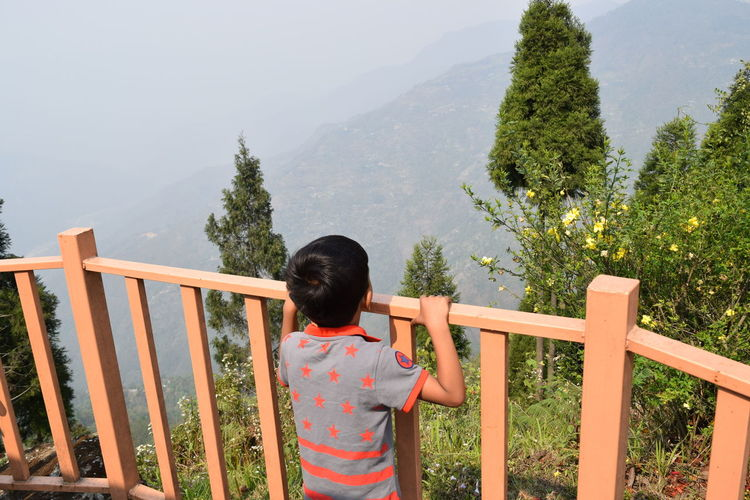 Rear view of boy standing by railing during foggy weather