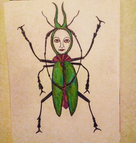Beatlegirl Beatle Skalbagge skalbaggeflicka Scetch Teckning Kritor Crayons Art Konst