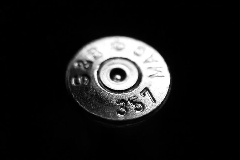 Circle Black Background No People Close-up Technology Monochrome Metal Bullet 357 Magnum