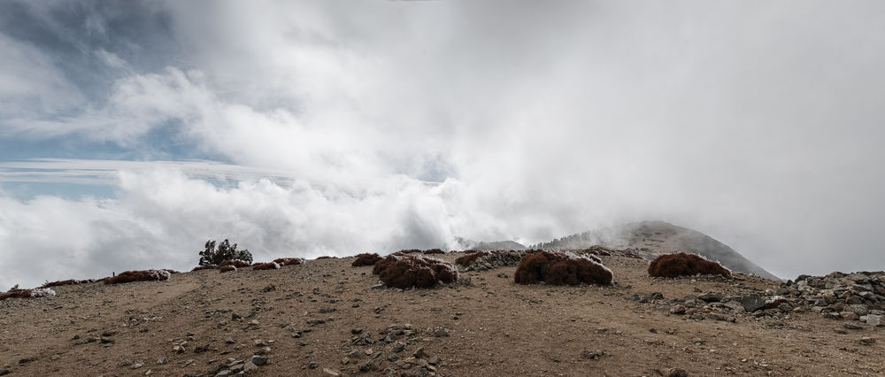 Clouds rolling in enveloping the summit of Mount Baldy. Tap on the link https://kuula.co/post/7lcXM to see a 360 degree shot of the summit covered in clouds. 💫 Beauty In Nature Cloud - Sky Day Hot Spring Landscape Long Exposure Motion Mountain Nature No People Outdoors Power In Nature Rock - Object Scenics Sky Water Perspectives On Nature
