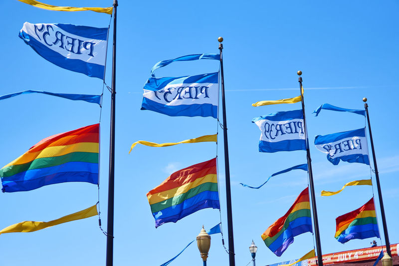 A6000 Blue Culture Day Flags In The Wind  Lovewins Outdoors Pier39 Rainbow San Francisco
