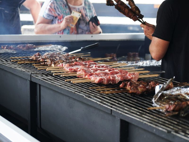 Unrecognizable People Barbecue Barbecue Grill Food Food And Drink Grilled Meat Meat Skewer Preparation  Preparing Food Real People Street Food