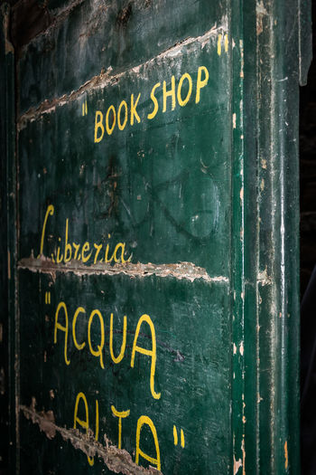Door of libreria acqua alta, Venice Acqua Alta Bookshop Close-up Door Hotspot Italy Libreria Acqua Alta No People Text Travel Venice