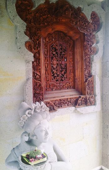 Window Altar Statue Worship Traditional Wooden Art Craft Wooden Statues Balinese Life Balinese Culture Bali
