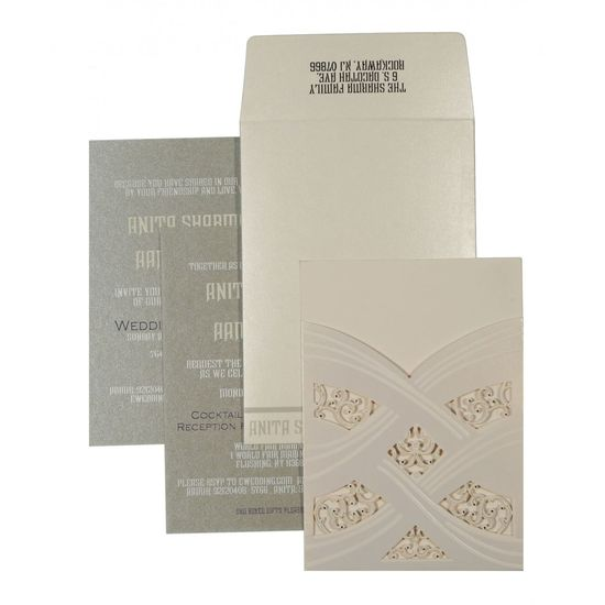 Pick this perfect design of designer wedding invitations at 123WeddingCards. The fascinating wedding invitation designs and shimmer paper artwork is a result of handwork and the commitment of our skilled designers and manufacturers. The beautiful shades of ivory color have been conferred on the wedding card to attract your guests. https://www.123weddingcards.com/card-detail/D-1590 123WeddingCards Designer  Designer Invitations Designer Wedding Cards, Designer Wedding Invitation Cards Designer Wedding Invitations Indian Wedding Invitations