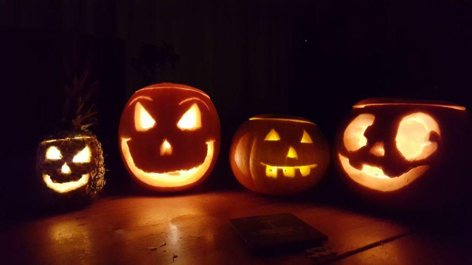 Illuminated Halloween No People Night Indoors  Pumpkin Food Pinapple Pinapple Pumkin Carvings