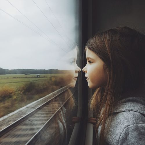 Cute girl in train