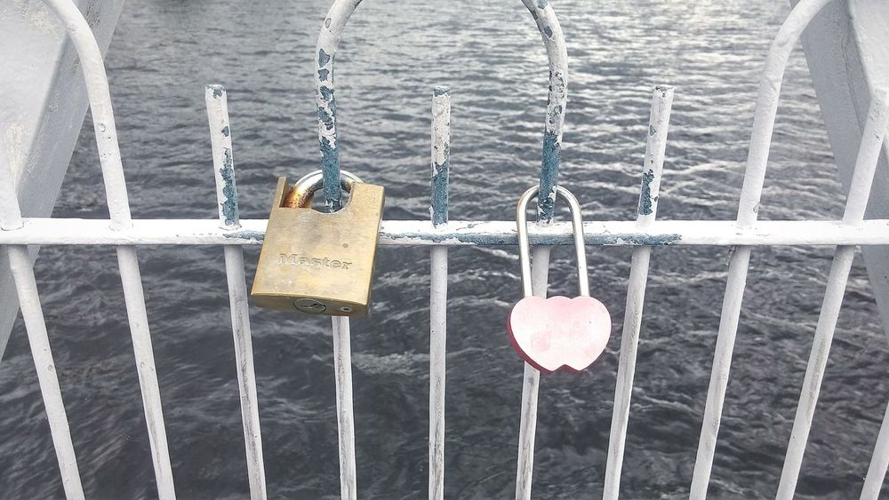 Heart Shape Padlock Love Lock Love Outdoors Hanging EyeEmNewHere EyeEm Gallery Water Close-up