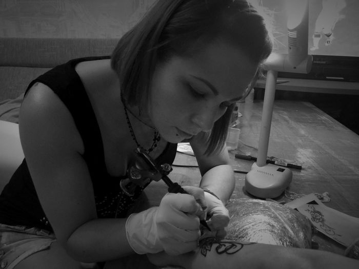 Tattoo. Black flowers + mandala