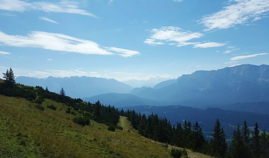 Beauty In Nature No People Sky Outdoors Day Summer Travel Destinations Mountain Range Nature Landscape Spruces Pinaceae Mountain Conifers Tranquil Scene Bayern Germany Cloud - Sky Mountain Peaks Hiking Trail Forest