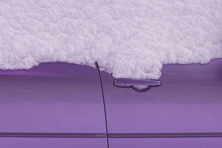Full frame shot of snow covered car