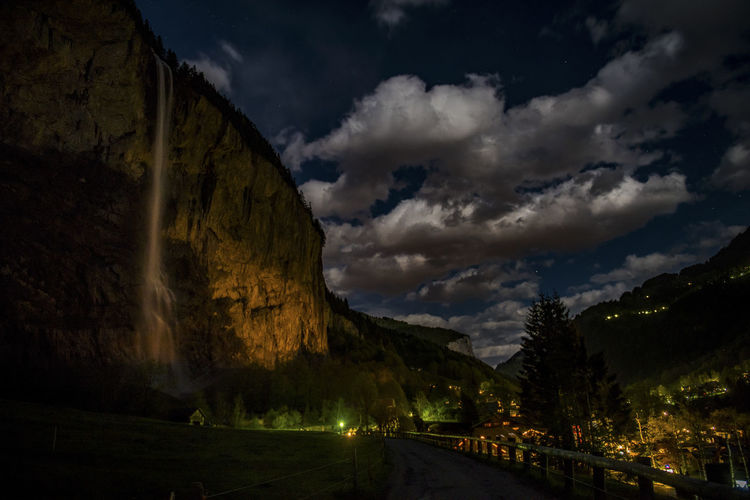 Cloudy Dark Green Light Nature Nightphotography Clouds Glacier Lauterbrunnen Mood Mountain Nature_collection Night No People Orange Color Stars Street Waterfall