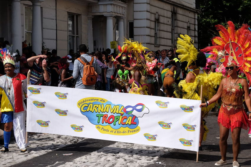 Carnival Tropical de Paris Carnival Composition Fun GB London Sunlight And Shade Tourist Attraction  Architecture Banner Capital City Carnival Costumes Celebration Festival Full Frame Large Group Of People Leisure Activity Men And Women Multi Coloured Nottinghill Carnival 2017 Outdoor Photography Real People Streetphotography Togetherness Travel Destination Uk