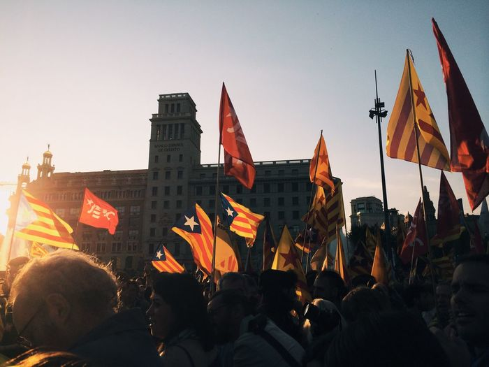 Protesters With Flags At Placa De Catalunya