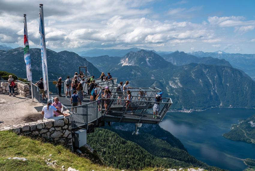 Five FIngers viewpoint in the Alps over Hallstatt Lake Austria Five Fingers Sightseeing Travel Adventure Architecture Beauty In Nature Cloud - Sky Day Hallstatt Large Group Of People Men Mountain Mountain Range Nature Outdoors People Real People Scenics Sky Travel Destinations Viewpoint Water Women