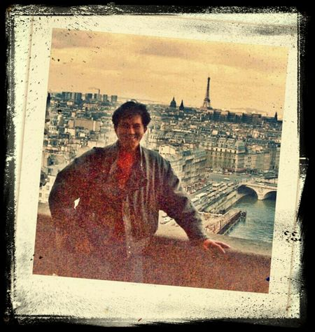 atop Notre Dame cathedral with spectacular view of Paris 1985