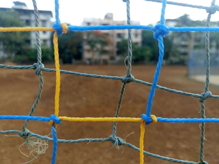 Close-up of net on sports field