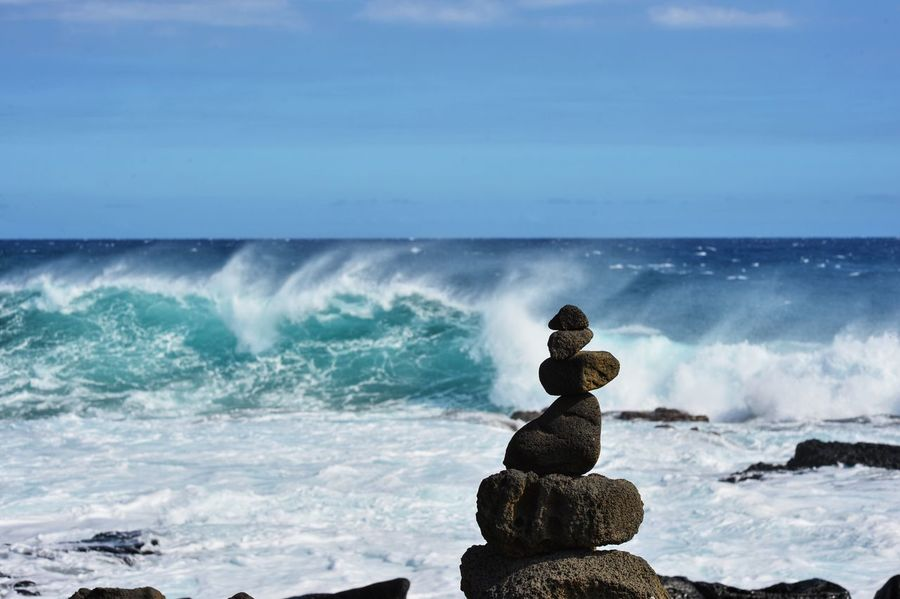 Balance Beauty In Nature Cloud - Sky Day Horizon Over Water Idyllic Motion Nature No People Ocean Outdoors Rock Rock - Object Rock Formation Scenics Sea Seascape Shore Sky Splashing Stone - Object Tranquil Scene Tranquility Water Wave
