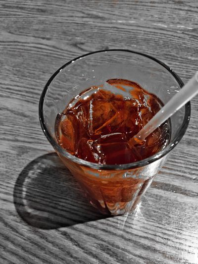 Southern Sweet Tea....love it! First Eyeem Photo Shadows & Lights Eye4photography  Taking Photos Check This Out No People High Angle View Glass Ice Sweet Tea Drink Straw Colorsplash