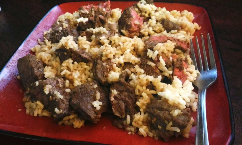 Teriyaki Sirloin Steak Tips with Rice Food Food And Drink Ready-to-eat Indoors  No People Freshness High Angle View Healthy Eating Plate Close-up Red Meat Steak And Rice Teriyaki Beef Square Plate Red Plate Beef And Rice Rare Beef Rice - Food Staple White Rice Hot Meal Food Porn Food Photography