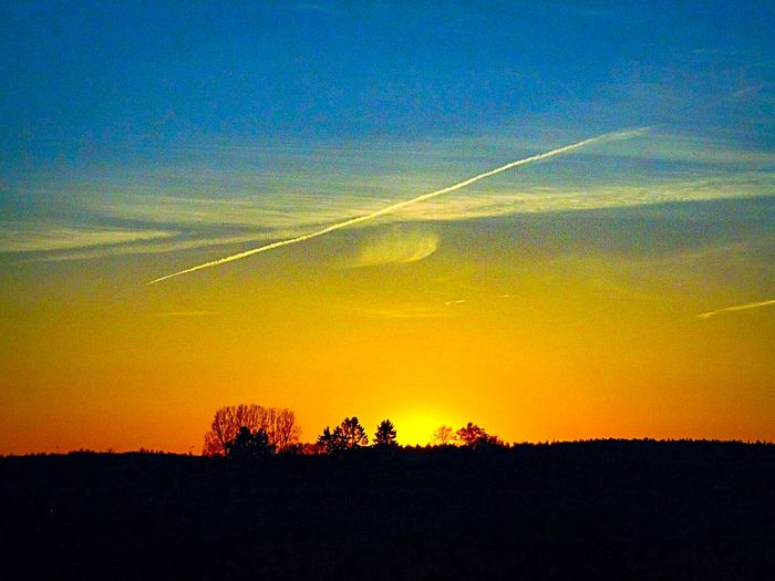 Sweden The True Story Eskilstuna A New Beginning Vapor Trail Tree Sunset Silhouette Astronomy Sky Landscape