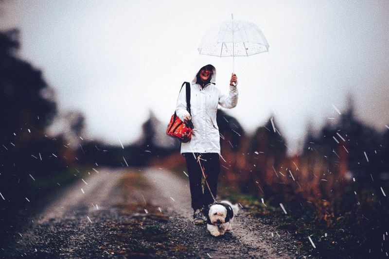 Me and my best friend walk on a rainy day