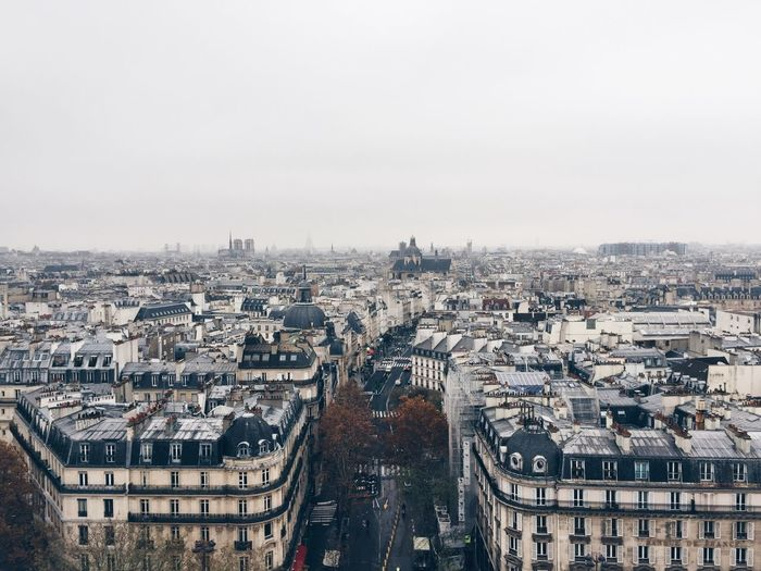 Aerial view of paris roofs and perspective, wintertime, streets and rooftops