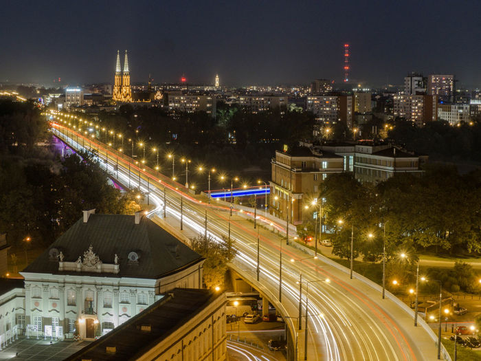 Poland Polska Warsaw Warsaw Old Town Warsaw Poland Warsaw Nights Warszawa  Architecture Building Building Exterior Built Structure Capital Capital Cities  City High Angle View Illuminated Long Exposure Motion Night No People Poland 💗 Road Street Traffic Transportation