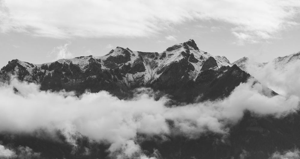 Alps Panorama Black & White Cloud Cloudy Mountain View Panorama Panoramic The Week On EyeEm Alps Balck And White Black And White Blackandwhite Blackandwhite Photography Clouds Liechtenstein Mountain Mountain Peak Mountain Range Mountains Panoramic Photography Snowcapped Mountain Switzerland The Great Outdoors - 2018 EyeEm Awards