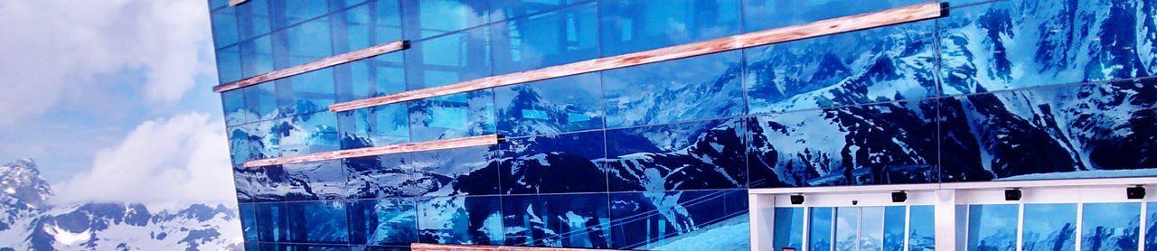 Ischgl Pardatschgrat Reflection Mountains Berge Alpen Alps Winter Snow Schnee Landscape Landschaft Glass Glass Structure Architecture Blue Wave The Architect - 2016 EyeEm Awards Found On The Roll