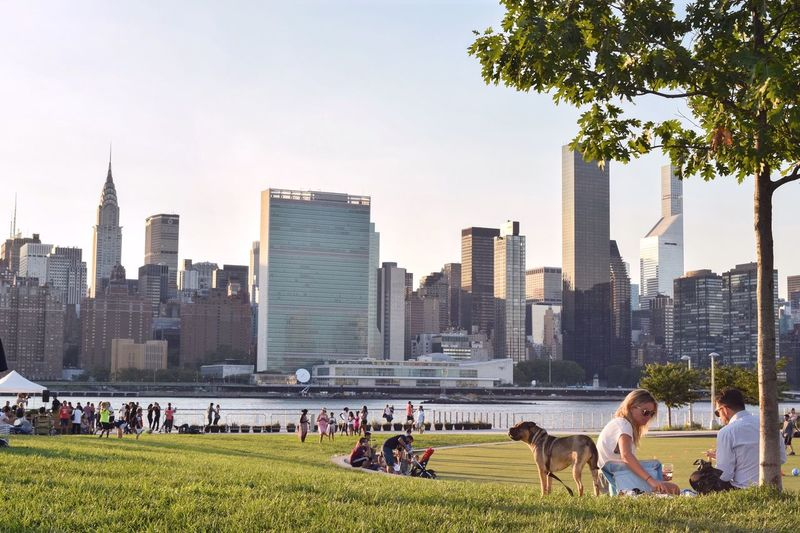 New york cityscape against clear sky