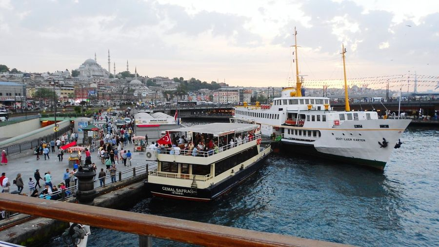 Visit Colorful Tourism Public Buildings City Life Lifestyle Urban Summer Outdoors Public Transport Transport Place Cityscape City Sky Evening Boats Istanbul ıstanbul Turkey Türkiye Ship Channel Bosfor